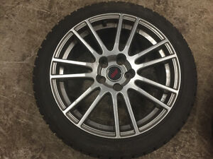 "18"" Silver STi Enkei Rims with Winter Tires"