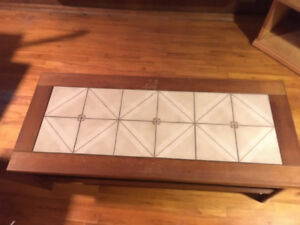 Teak Coffee Table/End Table with Ceramic Tile