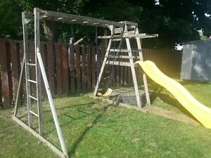 Childrens Outdoor Wooden Playset Structure with Slide