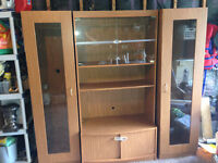 3 piece entertainment unit with glass shelving and lighting