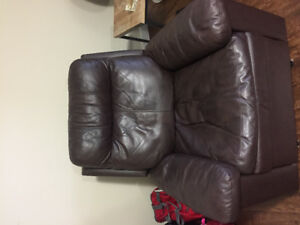 Leather couch & rocker recliner
