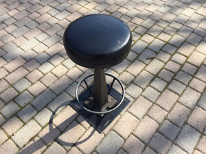 Black Leather and Steel Bar Stools