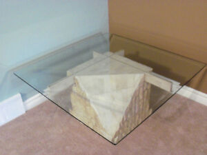 ****BEAUTIFUL MULTI/FACE STONE /BEVELLED GLASS TABLE****