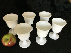 Vintage milk-glass dinner goblets - set of 6 Cambridge Kitchener Area image 4