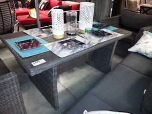 ALL WEATHER RESIN WICKER DINING TABLE-GREY