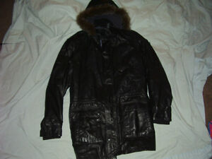 Danier Black Leather  Coat  New with Hoodie