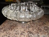 1940's JEANETTE FRUIT PATTERN CRYSTAL PUNCH BOWL