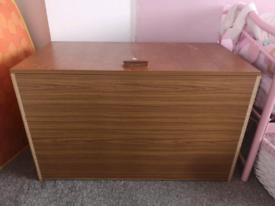 Large brown wood blanket box storage