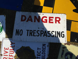 VINTAGE DANGER NO TRESPASSING WOOD SIGN - PARKER PICKERS -