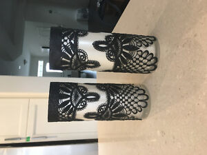 Black and White Lace Vases/ Wedding Centerpieces