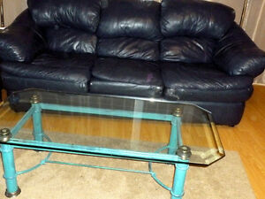 Leather Couch, Glass Table and Chair Set - Very good condition