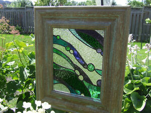 Unique Stained glass in oversized wooden frame