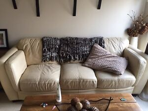 Leather beige couch and love seat