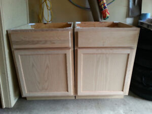 Unfinished Oak Cabinets and Countertop