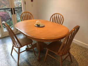 Light wood kitchen table with chairs available