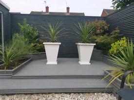 Two XL uPVC plant pots/planters handmade.