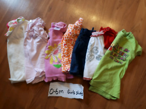 0-6 month girls summer shirts