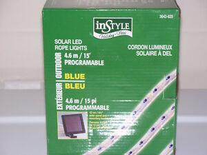 NEW IN BOXES (2 SETS) SOLAR LED ROPE LIGHTS (BLUE) 15 ft ea