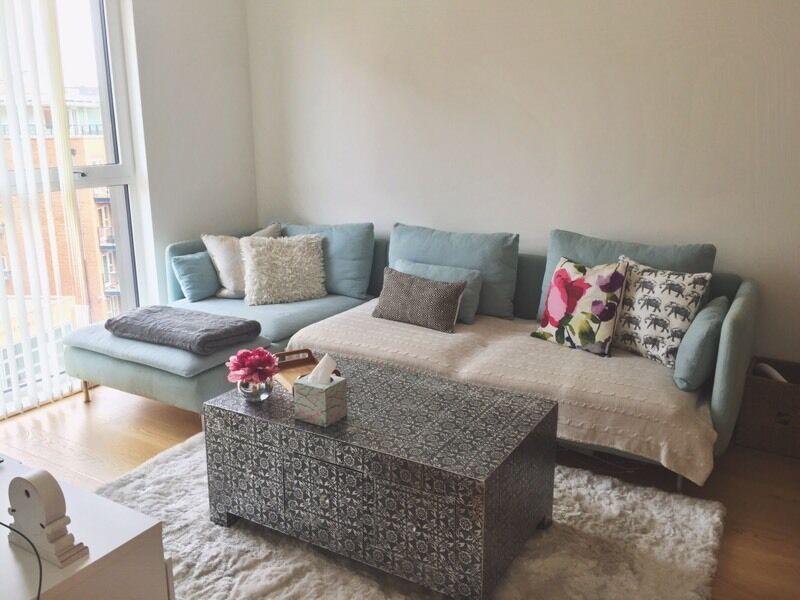 IKEA Soderhamn Sofa Light Blue FREE Cushions Throws
