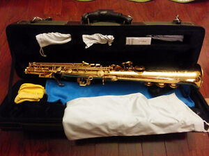 New saxophone with sax pack, Soprano, Gold