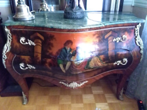 antique Louis XV French wood hand painted bombe chest marble top