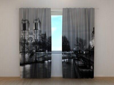 Curtain with Print Notre-Dame de Paris Wellmira Ready Made 3D Living Room