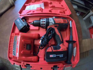 Milwaukee M18 Cordless Hammer Drill with Lithium Ion Batteries.