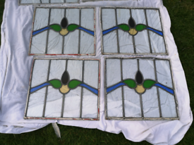 4 LOVELY VINTAGE STAINED GLASS WINDOW PANELS **SPARES OR REPAIR*