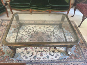 SET OF BRONZE VINTAGE COFFEE TABLE & ONE SIDE TABLE FOR SALE