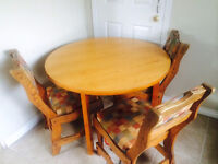 FREE: Wooden Table + 3 Chairs, must go this weekend!