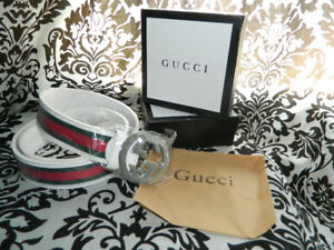 Gucci Men Red Green Leather Web Stripe Belt
