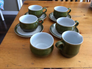 4 Piece Authentic Denby Coffee/Tea with Cream and Sugar Set