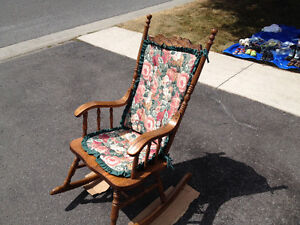 Rocking chair with seat and back cushion