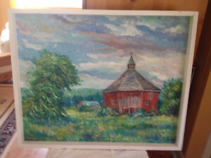 Red Gazebo Barn/  Original oil Painting