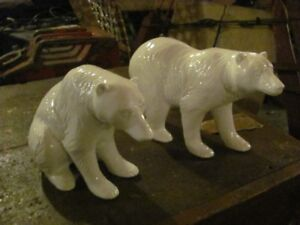 PAIR OF CERAMIC WHIT E BEARS GREAT CONDITION ASKING $55 OR BEST