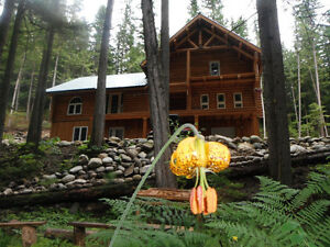 River Rock Retreat- 3 acres, with off grid mountain log home