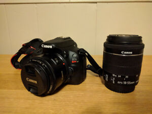 Canon Rebel SL1 with 18-55 kit lens and 50mm 1.8 prime lens