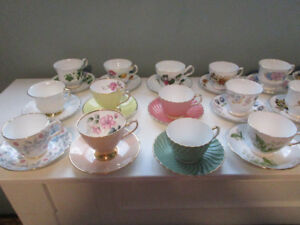 ENGLISH BONE CHINA CUPS AND SAUCERS - 21