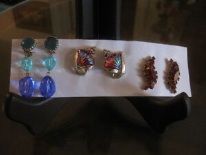 THREE PAIR OLD-FASHIONED VINTAGE ['50's] ADAPTABLE EAR RINGS