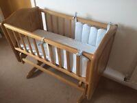 Mothercare rocking crib & mattress inc mattress cover & bumper