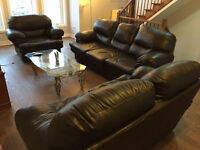 Living room furniture, three couches, coffee table and tv unit