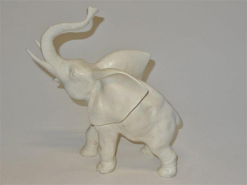 VINTAGE Cast White Alabaster Elephant