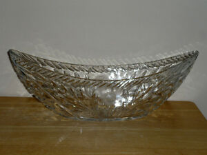 Crystal Fruit Bowl :: Large/Heavy :: Oval /Boat Shaped : Unique