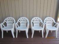 4 Outdoor Plastic Chairs