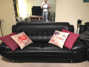 Modern Black Leather Couch, Love Seat & Chair