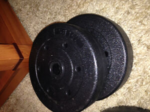 Standard plate wieghts, 2 bars and 3 dumbells with locks London Ontario image 5