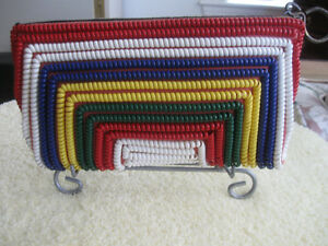 COLLECTIBLE OLD VINTAGE LADIES'  COLORFUL COILED CLUTCH.['50's]