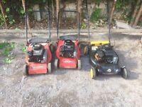 Job lot of 3 Petrol lawnmowers