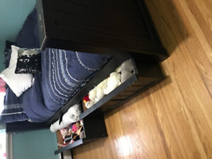 Double black bed and dresser