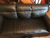 3+2 seater leather black sofa